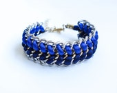Silver Wrap Bracelet - Blue & Navy satin cord braided gold and silver double chain Arm Candy