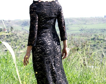 Bridesmaid dress.maxi lace dress.bohemian dress.black embroidery lace dress.romantic black dress.sleeves fall lace dress.mother of the bride