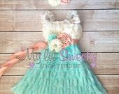 Ivory, peach, light mint aqua 3 piece set, dress, sash, headband, baby girl outfit, special occasion dress, toddler dress, girls dress,