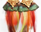 Fall Color Gold Blossom Feather Earrings