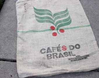 Large Reclaimed Cafes do Brasil Burlap Coffee Bag
