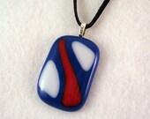 Fused Glass Pendant, Red White Blue, Patriotic Jewelry, Glass Necklace, Fused Jewelry, Pendant Necklace