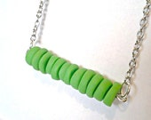 Green Disc Necklace- Polymer Clay Beaded Necklace-  Polymer Clay Disc Necklace- Spring Necklace- Beaded- Lime Green Discs