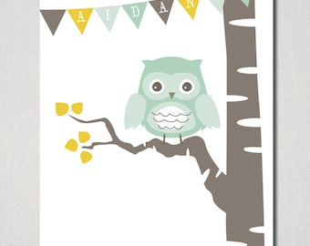 Owl & Birch Personalized Nursery Art Printable - Digital File ( I design + YOU print)