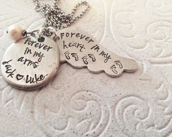 Angel Mom Necklace, hand stamped memorial wing Necklace, loss, grief, pewter