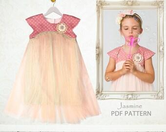 Childrens Sewing Pattern PDF, Girls Dress Pattern pdf, Tutu Dress Pattern, Flower Girl Dress Pattern, Easy Sewing Pattern, JASMINE