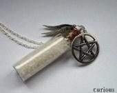 Supernatural Salt & Pentagram Vial Bottle Necklace - Curious Owl