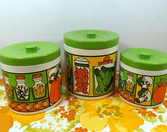 Vintage Kitchen Canisters, Set of Three, In Groovy Bright Colors