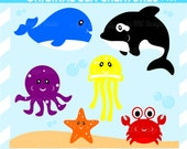 Sea Creatures Whale Octopus Jellyfish Crab Clip Art - Cute Killer Whale Starfish Ocean Clip Art, Commercial Use