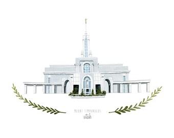 Mount Timpanogos Utah LDS Temple Illustration - Archival Art Print