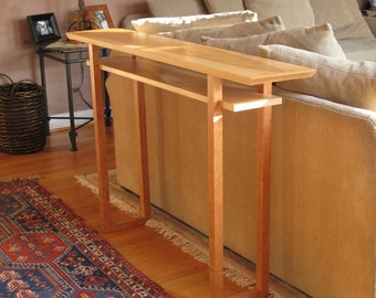 Handmade Narrow Wood Sofa Table: Console Table, Hall Table- Mid Century Modern Wood Furniture- CLASSIC COLLECTION