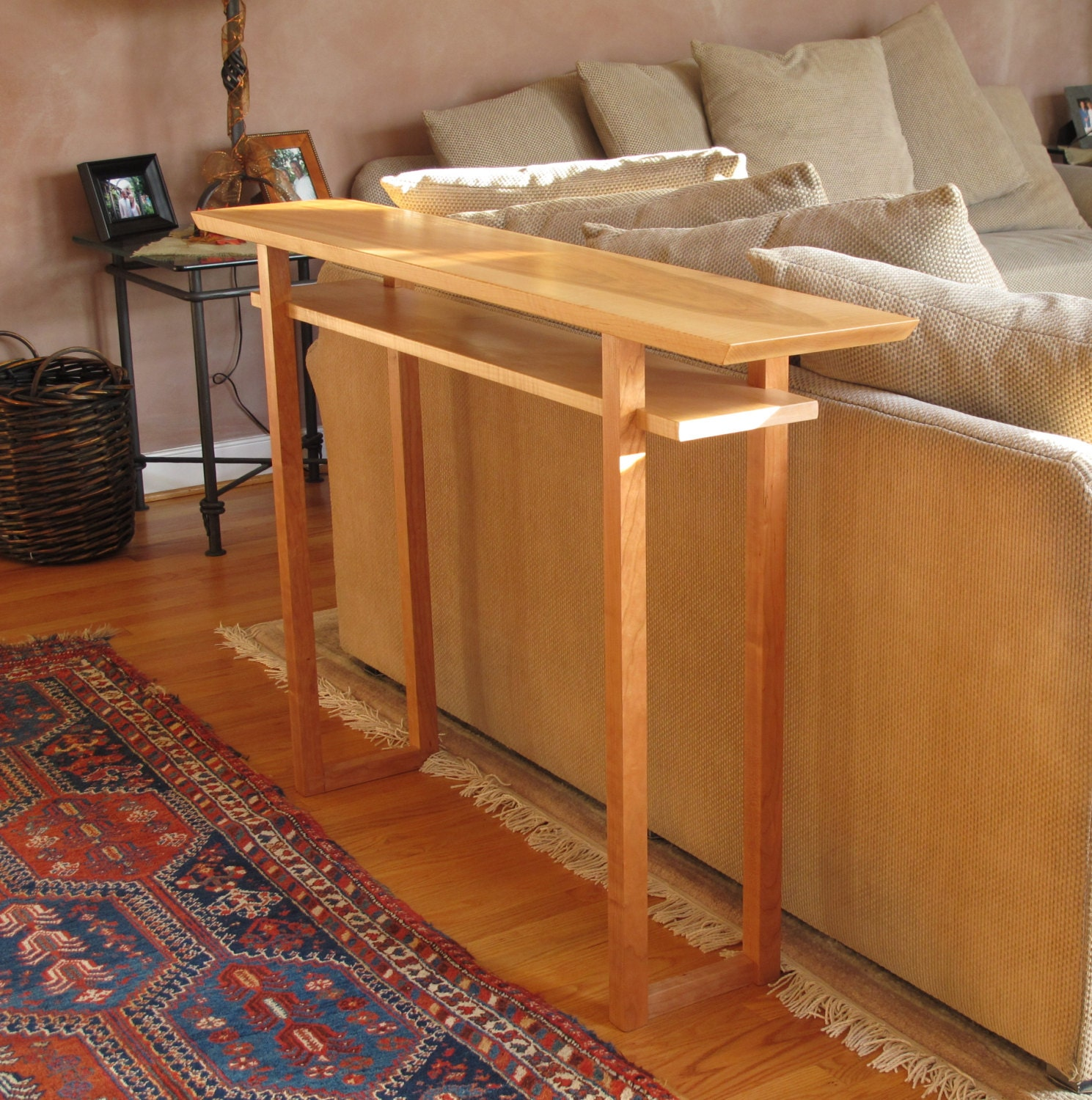 Handmade Narrow Wood Sofa Table Console Table Hall Table