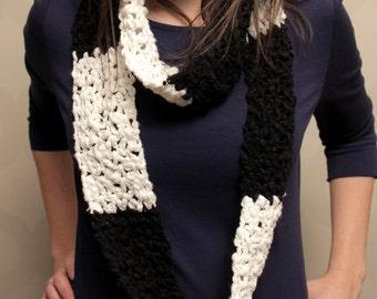 The Echo Scarf - black and white crochet infinity scarf - Skinny Crochet Scarf