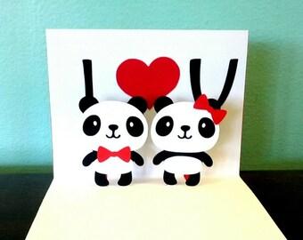 Pop Up Card - I Heart U - Panda Card