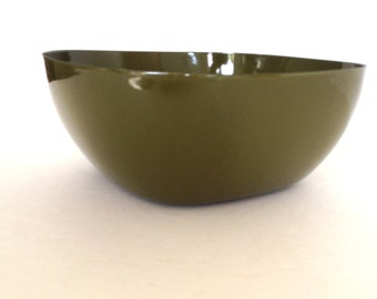 Vintage Catherineholm - Green Enamel Bowl -  Enamel Square Bowl - Mid Century Bowl
