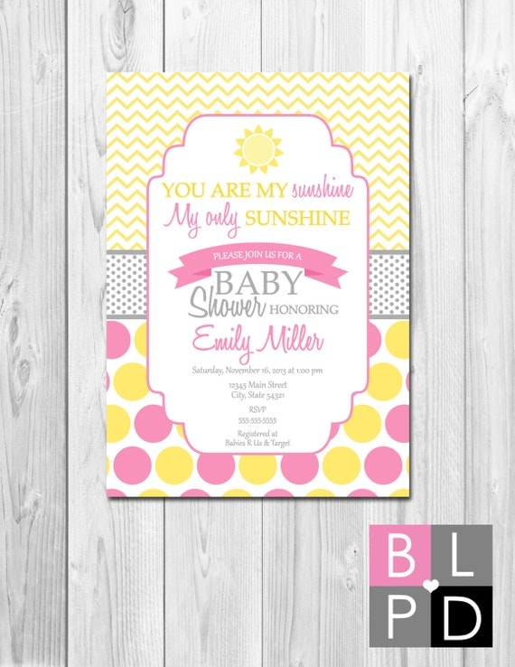 you are my sunshine baby shower invitation yellow pink and grey