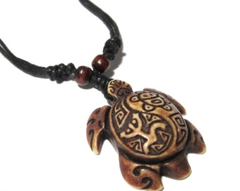 Brown Turtle Necklace - Coqui Tribal Frog and Taino Sun Symbols
