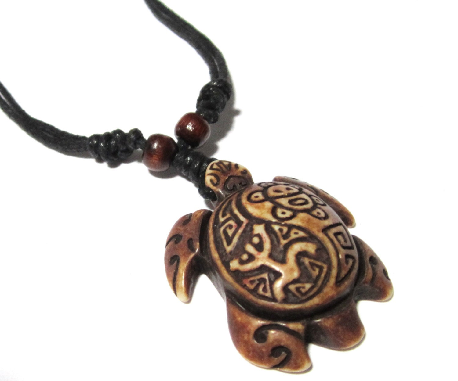 Brown Turtle Necklace Coqui Tribal Frog and Taino Sun