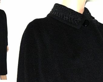 Vintage 1950s Coat Beaded Black Designer 1950s Wool Coat Mad Man Garden Party Rockabilly Retro Femme Fatale
