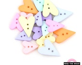 18 Heart Shaped Buttons - 8 Pastel Colors - 3 sizes - Save 15% - Pink Blue Lilac Mint Yellow Green