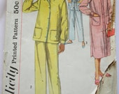 Vintage 1950s Women's Nighshirt and Pajama Set Sewing Pattern Size 16 Simplicity 2242