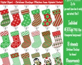 Christmas Digital Clipart -Instant Download, Printable Christmas Stockings, Red & Green Xmas Clipart -Matches Alphabet Series