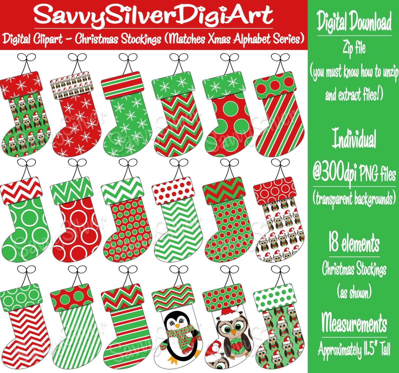 Christmas Stockings Clipart Free Il Fullxfull Tek