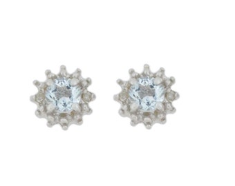 0.50 Ct Natural Aquamarine & Diamond Stud Earrings .925 Sterling Silver Rhodium Finish