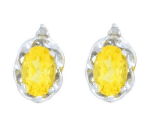 1 Ct Citrine & Diamond Oval Stud Earrings .925 Sterling Silver Rhodium Finish