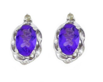 1 Ct Amethyst & Diamond Oval Stud Earrings .925 Sterling Silver Rhodium Finish