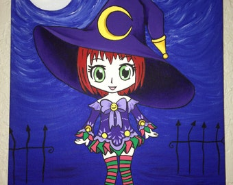 Original Chibi Witch Painted in Acrylic on Canvas