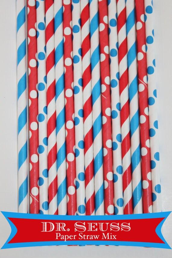 25 Dr. Seuss Paper Straw Mix  PAPER STRAWS birthday party bridal shower event cake pop sticks Bonus diy straws flag