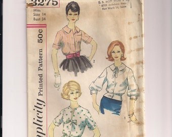 1960s Simplicity 3275 Used Misses and Womens Blouse and Overblouse Vintage Sewing Pattern Size 14