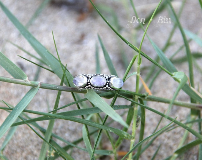 Moonstone Ring, Statement Personalized, Engraving, Silver Rings for Women, Moonstone, Gemstone, Gypsy, High Fashion Sterling Ring