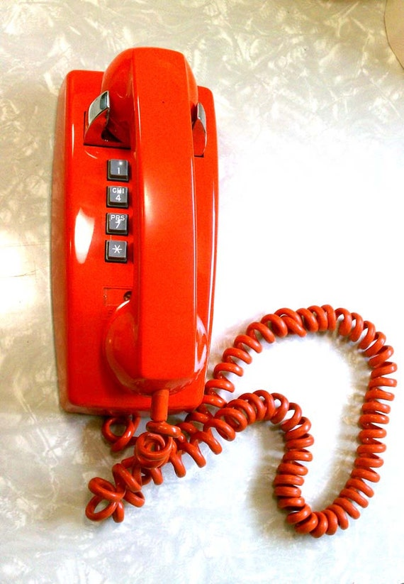 Retro Groovy Atomic Orange Push Button Wall Telephone by Stromberg Carlson for Ma Bell WORKS!