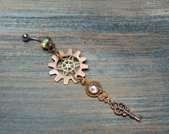 victorian steampunk dreamcatcher belly ring amethyst key dreamcatcher gears in victorian steampunk tribal fusion  boho and hipster style