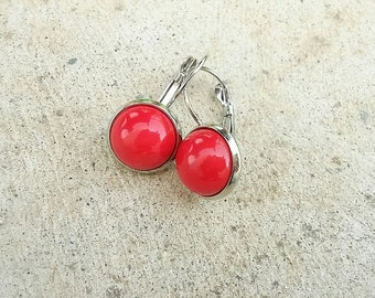 Bright red earrings, Drop red earrings, Glass cabochon earrings, Red jewelry, Silver red earrings,red dangle earrings,red