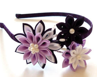 Kanzashi Fabric Flower headband. Plum, orchid and white.