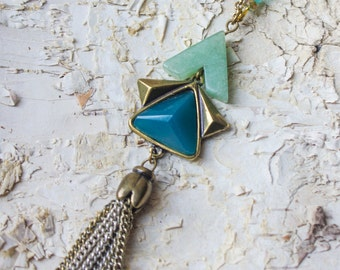 Jade Necklace, Brass Necklace Long, Semi Precious Stone Necklace, Tassel Necklace, Layered Necklace, Jade, Jade Pendant, Brass Necklace,LN87
