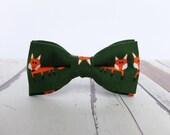 Fox Bow Tie by BartekDesign: pre tied linen green orange fox autumn funny gift for men women kids