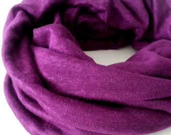 Infinity Scarf Women Plum Purple Jersey Knit Circle Loop