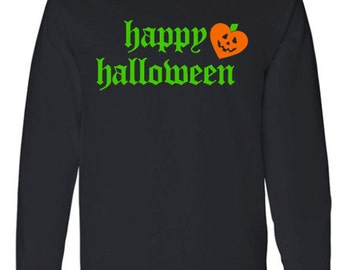 Happy Halloween Adult Long Sleeve T-Shirt With Heart Pumpkin, Halloween, Pumpkin Face, Halloween Clothing, Trick or Treat