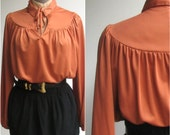 Prairie Blouse / Harvest Orange Secretary Blouse / 1970s