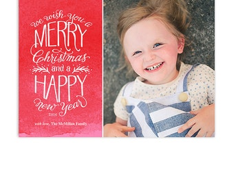 Christmas Card Template - Hand Drawn Type - 5x7 Flat Card - Wishes - 1346