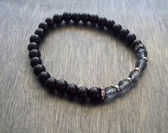 Black stretch bracelet - beaded friendship bracelet - Yoga bracelet perfect for Stacking - sparkly bracelet