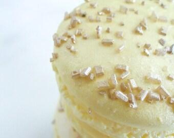 French Macaron Cookies 12 Gold Glitter Sugar Yellow Macaroons Gift Splendid Sweet