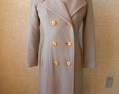 COAT SALE // Taupe Wool Trench Coat // Double Breasted Jacket // Lined // Pockets