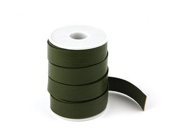"""20% OFF 20x1mm Flat Leather Cord, 16"""" Dark Moss Green Genuine Leather Cord, Flat Leather Strip, Pkg of 16 Inches, D0PS.DG20.L16I"""