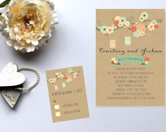 Floral Wedding Invitation. Mason Jar Invitation. Rustic Wedding. Tree Branch.  RSVP Card.