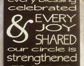 "Family Circle, Family Sign, Our Family is a Circle of strength and Love, Wood Sign, Home Decor, sized 9""x18"""